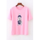 Cartoon Dog Printed Round Neck Short Sleeve Tee