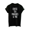 COFFEE TEE Printed Round Neck Short Sleeve Tee