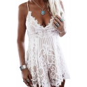 Spaghetti Straps Sleeveless Lace Up Back Lace Romper