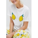 Two Lemon Pattern Short Sleeve Round Neck Summer Tee