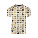 Cute Cats Printed Round Neck Short Sleeve Tee