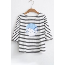HELP Letter Bear Printed Round Neck Short Sleeve Striped Tee