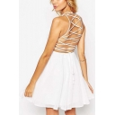Drawstring Crisscross Back Sleeveless Plain Mini A-Line Cami Dress