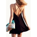 Crisscross Back Spaghetti Straps Sleeveless Plain Mini Cami Dress