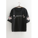 Letter Floral Embroidered Round Neck Short Sleeve Tee