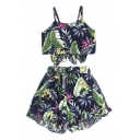 Floral Leaf Printed Spaghetti Straps Sleeveless Crop Cami with Ruffle Hem Shorts Co-ords