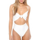 Tied Front Hollow Out Spaghetti Straps Sleeveless Plain One Piece Swimwear