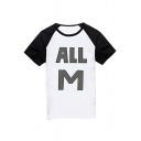Stylish ALL M Letter Printed Round Neck Raglan Color Block Short Sleeve Tee