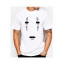 No Face Man Printed Round Neck Short Sleeve Tee