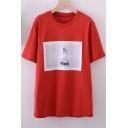 Fashionable Girl Printed Round Neck Short Sleeve Tee