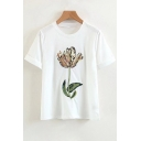 New Arrival Floral Embroidered Round Neck Short Sleeve Tee