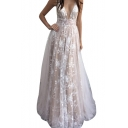 V Neck Sleeveless Hollow Out Back Sheer Mesh Inert Floral Printed Maxi A-Line Party Dress
