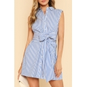 Lapel Collar Sleeveless Striped Printed Buttons Down Bow Tied Waist Mini A-Line Dress