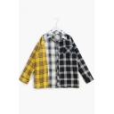 Color Block Plaid Printed Lapel Collar Long Sleeve Buttons Down Shirt