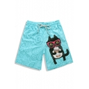 Best Bright Blue Fast Dry Elastic Cat Kitty Cartoon Swim Trunks with Pockets without Lining