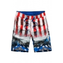 Elastic Mens Big and Tall American Flag Red White Blue Swim Trunks with Drawcord and Pockets