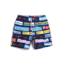 Fashion Navy Blue Men's Drawstring Letter Logo Pattern Swim Trunks Shorts without Lining