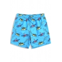 Big Mens Short Cute Monkey Shrimp Printed Quick Dry Blue Swim Trunks Bathing Shorts with Liner