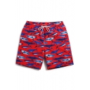 Quick Dry Top Mens Red Drawstring Shark Fish Bathing Suit without Liner