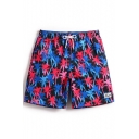 Blue Red and Black Drawstring Palm Tree Pattern Bathing Short Trunks for Male with Mesh Liner