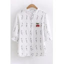 Cherry Embellished Leaf Printed Round Neck Half Sleeve Buttons Down Shirt