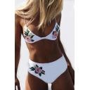 Floral Embroidered Spaghetti Straps Bikini