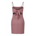 Colorful Striped Printed Spaghetti Straps Sleeveless Hollow Out Back Mini Cami Dress