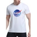 NASA Starry Sky Printed Round Neck Short Sleeve Tee