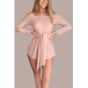 Off The Shoulder Long Sleeve Tied Waist Plain Romper