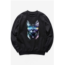 Sun Glasses Cat Printed Round Neck Long Sleeve Pullover Sweatshirt