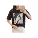 Woman's Profile Printed Round Neck Short Sleeve Tee