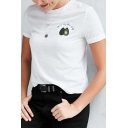 Leisure Avocado Letter Embroidered Round Neck Short Sleeve Tee