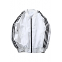 Stripes Side Long Sleeve Zipped Plain Jacket with Double Pockets
