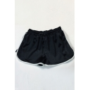 Contrast Trim Drawstring Waist Loose Sports Shorts
