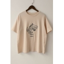 TINO Letter Dinosaur Embroidered Round Neck Short Sleeve Tee