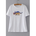 Sequined Dinosaur Printed Round Neck Short Sleeve Tee