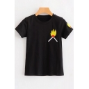 Flame Embroidered Round Neck Short Sleeve Tee