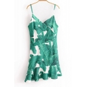 Leaf Printed Spaghetti Straps Sleeveless Asymmetric Hem Mini Cami Dress
