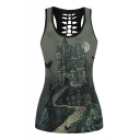 Castle Landscape Printed Round Neck Sleeveless Hollow Out Back Tank