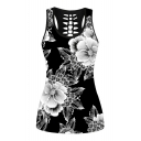 Floral Printed Sleeveless Hollow Out Back Tank