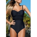 Color Block Mesh Insert Spaghetti Straps One Piece Swimwear