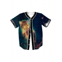 Galaxy Cat Printed Short Sleeve Buttons Down Baseball Tee