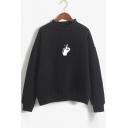 Gesture Printed Round Neck Long Sleeve Sweatshirt