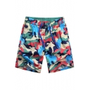 Chic Men's Camo Pattern Khaki Bathing Suits with Hook and Loop Pockets