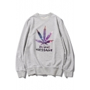 Fashionable Leaf Letter BLOOD MESSAGE Print Round Neck Long Sleeves Pullover Sweatshirt