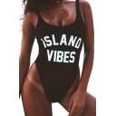 ISLAND VIBES Letter Printed Round Neck Sleeveless One Piece Swimwear