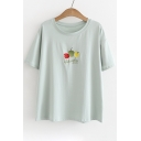 Vegetables Letter Embroidered Round Neck Short Sleeve Tee