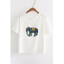 Elephant Embroidered Applique Round Neck Short Sleeve Tee