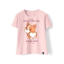 Cute Dog Letter Printed Round Neck Short Sleeve Tee