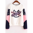 Color Block Cat Letter Pentagram Printed Round Neck Long Sleeve Sweatshirt